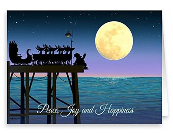 Stargazing on a Pier - Christmas Card - 18 Cards & Envelopes - 60036