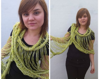 Green knit scarf, green knit scarf, green scarf, hand knitted scarf, knit green scarf, knitted green scarf, knit cowl,knit summer scarf