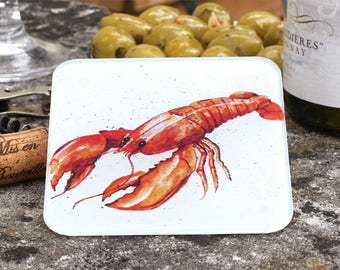 Lobster Coaster - Lobster Gift, Gift for Her, Recycled Glass Drinks Mat, Lobster Decor, Gift Under 5
