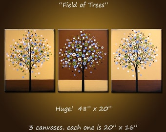 Original Art Large Triptych Abstract  Modern Contemporary Trees ... ready 2 hang ...48 x 20 ..Field of Trees, by Amy Giacomelli