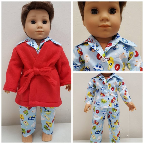 Red Bathrobe or PJ'S for Logan. 18 Inch Doll American Handmade