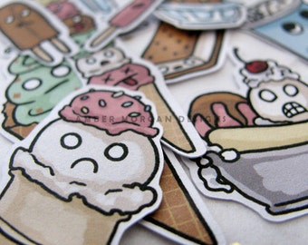 Ice Cream Stickers, Paper Stickers, Journaling, Sticker Flakes, Cute Food, Stationery, Scrapbooking, Funny Ice Cream, Crazy Ice Cream