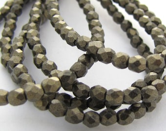 Metallic Suede Midnight Gold 3mm Facet Round Czech Glass Fire Polished Beads 50pc #2655