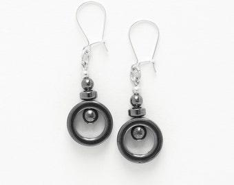Earrings Hematite circles