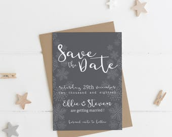 Winter Snowflake Save the Date | Winter Grey | Winter Collection | SAMPLE