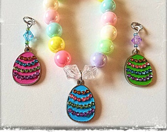 Rhinestone Easter Egg Beaded Bracelet! Matching hearing Aid Charms are available at a discounted bundle price! 3 egg colors to choose from!