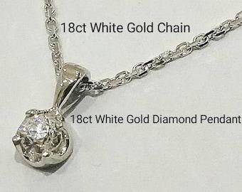 18ct 750 White Gold Natural Round Brilliant Cut Diamond Pendant
