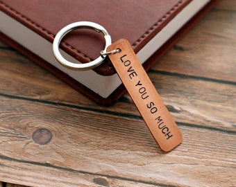 Anniversary Gift | I Love You So Much| Copper Keychain | Stamped Keychain | Husband Gift | Wife Gift | 7th Anniversary | Copper Anniversary