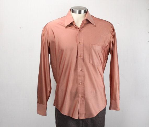 Vintage Men's Shirt - Sear's - Perma-Press - 1970's - Pink / Salmon - Metallic - Large - 16.5 Neck - Qiana Nylon
