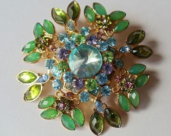 Vintage Green Rhinestone Flower Pin Brooch, Green Blue & Violet Color Rhinestone Gold Tone Brooch, Huge Domed Floral Brooch, 1970s'