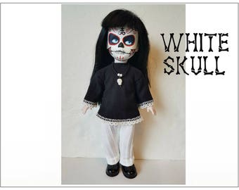 OOAK Living Dead Doll Clothes - WHITE SKULL Goth Dress Leggings and Skull Necklace - Handmade Custom Fashion by dolls4emma