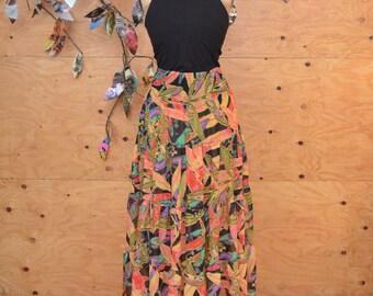 Vintage 80's Chiffon Maxi Skirt Tropical Floral Pattern SZ S/M