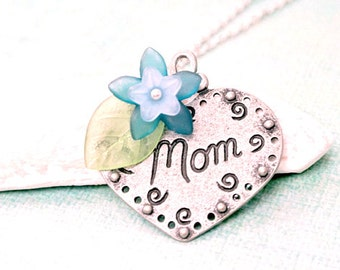 Antique Silver Heart with Flower Necklace, Mother's Day Necklace