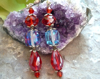 red crystal earring , cristal earrings, Downton Abbey style, for black tie and antique victorian look, boheme earring,  1920s earrings