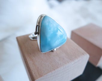 Size 6.5 Handmade Genuine Dominican Republic Larimar Sterling Silver Ring