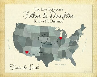 The Love Between a Father and Daughter Knows No Distance Gift Print, Father's Day Gift Idea, Long Distance Gift For Dad, Dad Birthday Gift