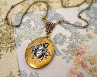 Vintage Locket Necklace Silver Bee Necklace Art Nouveau Inspired Necklace Long Pendant Necklace Handmade Jewelry Victorian Edwardian