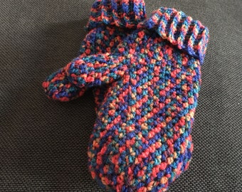 Multi coloured mittens