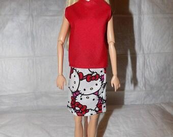 Dessin animé kitty jupe & top rouge pour poupées de mode - ed920