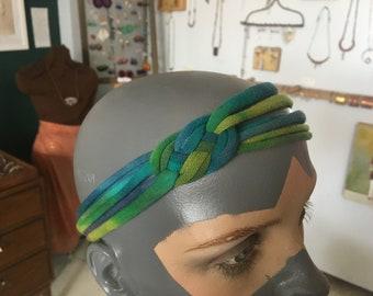 recycled t-shirt headband - blue/green/purple tiedye