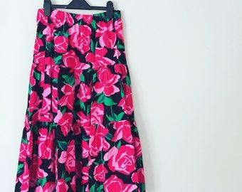 Retro Rose Print Midi Skirt