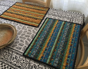 Quilted Placemats - dining room placemats, table setting placemats, Boho style, gift idea, house warming gift, country kitchen