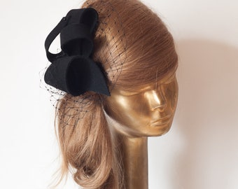 Unique Modern Black FELT FASCINATOR , BRIDAL Fascinator . Black Headpiece,  Party Bow Fascinator for Women