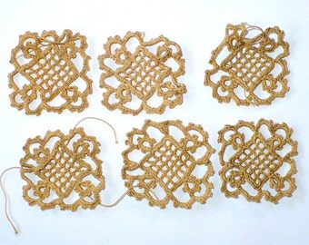 Venetian Crochet Squares, Tea Dyed Edwardian Lace, Vintage Sewing Supply, Appliques