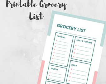 Printable Grocery List, Grocery List with Categories, Printable PDF, Shopping List, Grocery List, Instant Download, Meal Planner, Pastel