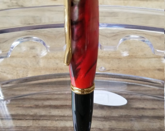 Translucent Red and Black Gatsby Twist Pen, Handmade, Free Shipping