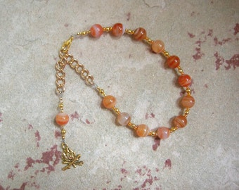 Hestia Prayer Bead Bracelet in Red Stripe Agate: Greek Goddess of the Hearth, Home and Family, Household and Community