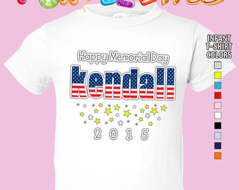 Happy Memorial Day - T-Shirt - Girls - infant - Personalized with Name & Year