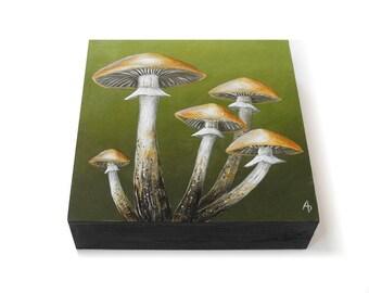 Toadstool painting 6x6 - original fungi art - colorful shroom art - mushroom painting - nature painting - square nature art