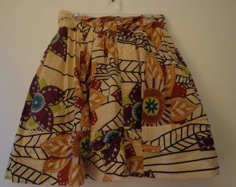 Vintage 1990s Skirt Earth Tone Patchwork Short Woodsy Size 8 Women's Vintage Fashion