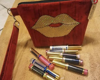 Distributors wristlet bag, LipSense, direct sales, purse, pouch, holds 21 lipsticks & additional supplies, shimmering gold lips