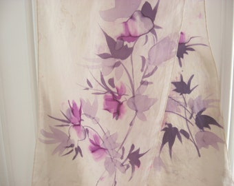 Purple Flowers Silk Scarf from France, hand painted lavender French wrap. Oriental watercolor style floral headscarf. Delicate violet shawl.