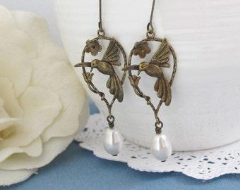 Pretty Hummingbird Earrings. Antiqued Brass Nature Woodlands Drop Earrings. Pearls Earrings. Modern Drops Earrings. Bridesmaid Wedding Gift