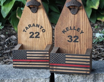 Fireman Gift THIN RED LINE Flag Beer Bottle Opener Catcher Rustic Wood Cap Catcher Thin Blue LIne Firefighter Gift Thin Blue Line Gift