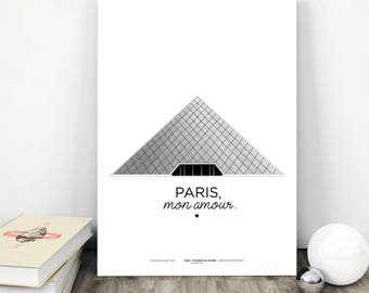 Poster Paris / Paris Louvre / printed on A3 210 grams / PARIS, my love.