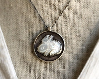 Bunny Medallion Necklace - Nature Pendant - Bunny Necklace - Spring Necklace - Healing Jewelry - Gemstone Jewelry