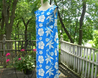 Vintage Hawaiian All Cotton  Island Fashions Hibiscus Dress