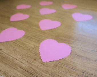 Pink Scalloped Heart Confetti 10 Count light pink scallop party table decor large confetti