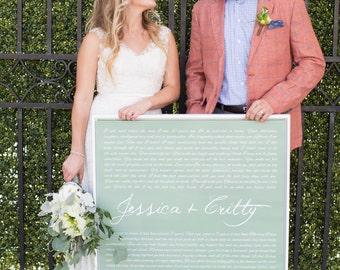 Wedding Vow Art, Deluxe Canvas in Frame