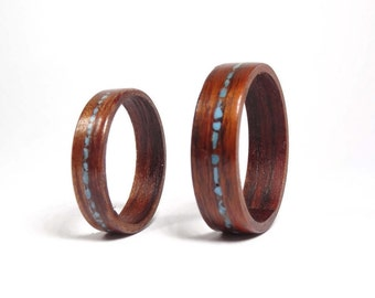 Wooden weeding band Set from RoseWood and Turquoise // Engagement rings set //  Ring for men // Ring for women // wedding ring