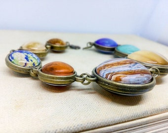 Double sided Planet Bracelet, Solar System Bracelet, Space bracelet, Galaxy, Universe jewelry, Space Jewelry, Two sided,  Planet jewelry