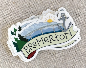Bremerton, Washington Vinyl Sticker / Washington Sticker / Modern Laptop Sticker / Waterproof Water Bottle Sticker / Travel Memento Sticker