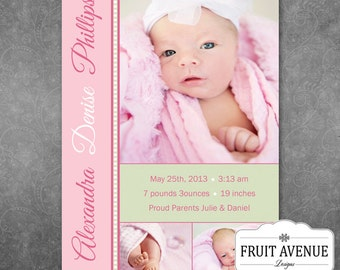 Pink and Green Baby Girl Printable Birth Announcement with Photo
