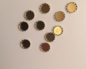 Lace edge round cabochon settings - 11mm - 10, 20, 50, or 100 pieces