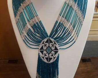 Vintage Native American Navajo Handmade Glass Beaded Necklace by Lee Hutchings