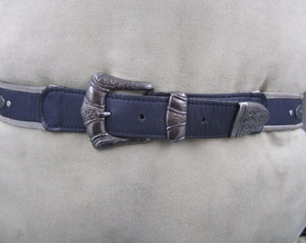 Kudos vintage black leather belt with dark metal buckle and embellishments